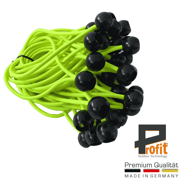 Élingues d'expansion avec boule en plastique noir 180mm | jaune fluo | caoutchoucs d'expansion | caoutchoucs de tente | caoutchoucs de tension | Profit Rubber Technology