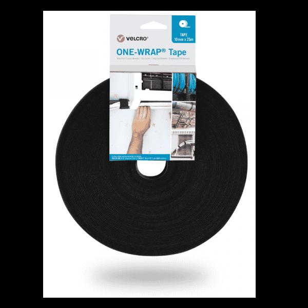 Ruban ONE-WRAP® de la marque VELCRO® 10mm x 25m sur rouleau noir