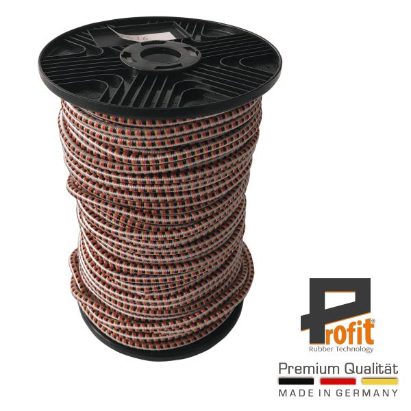 Gummiseil 6mm | Expanderseil | Deutschlandfarben | Deutschlandedtion | Spanngummiseil auf Rolle | 100 Meter | Profit Rubber Technology