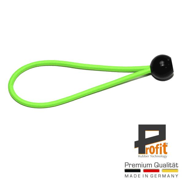 Caoutchouc de tente | caoutchouc de tension avec balle 180mm | néon vert | néon vert | caoutchouc de tension | Profit Rubber Technology