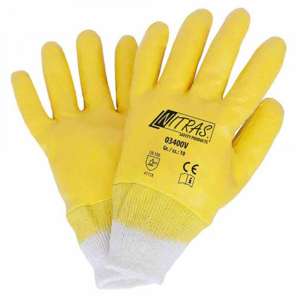 Gants en nitrile tricot de coton couleur naturelle Revêtement en nitrile, jaune entièrement enduit