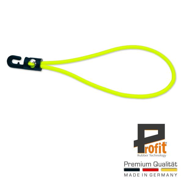 Élingue d'extension avec crochet 250mm néon jaune | Caoutchouc de bâche | Tendeur de bâche | Jaune | Néon | Caoutchouc de tension | Profit Rubber Technology
