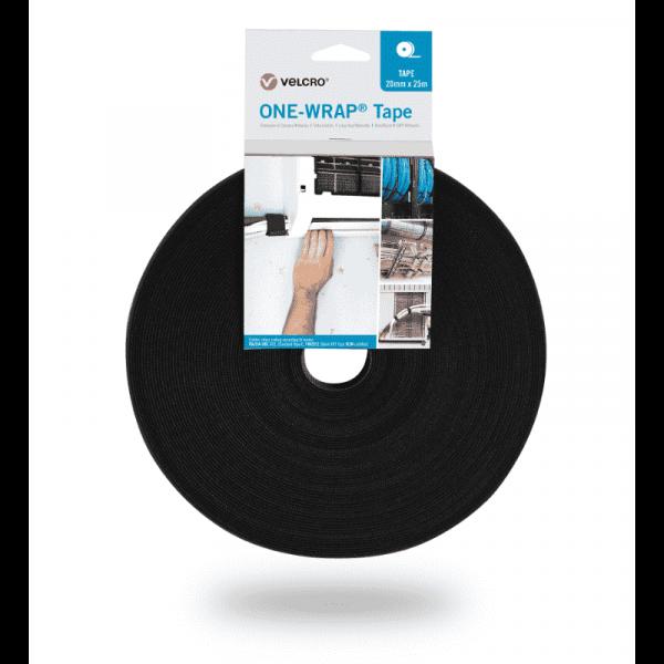 ONE-WRAP® Ruban adhésif de la marque VELCRO® 20mm x 25m en rouleau Noir